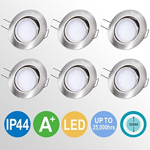 LED Badeinbaustrahler,BESTVA 6 x 6W 230V IP44 Einbauleuchte 6 x 500lm LED Deckenstrahler für Badezimmer,Küchen,Wohnzimmer[Energieklasse A+] (6 Stücke)