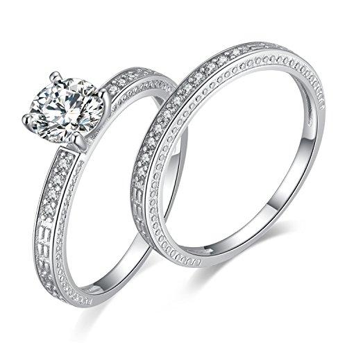 JewelryPalace 1.5ct Magnifique Bague de Fiançailles Femme Alliance Mariage Anniversaire Deux Anneaux Ensemble en Zircon Cubique de Synthèse CZ en Argent Sterling 925 Taille 57