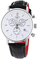 Detomaso Men's Quartz Watch MILANO Chronograph White/Black DT1052-E with Leather Strap