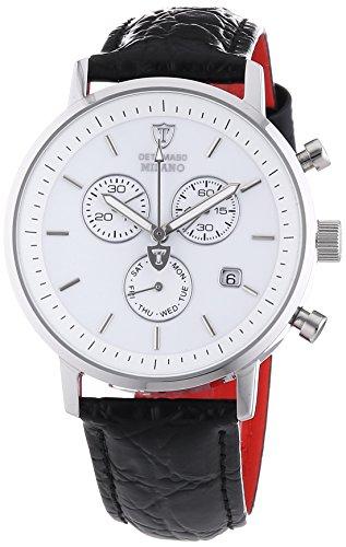 DETOMASO Herren-Armbanduhr Milano mit silbernem Edelstahlgehäuse und weißem Zifferblatt. Elegante Quarz Herren-Uhr mit schwarzem Leder-Armband