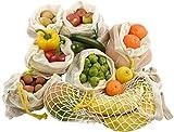 Gemüsebeutel Obstnetze, 6+1-Set, strapazierfähig & wiederverwendbar, Bio Baumwolle,...