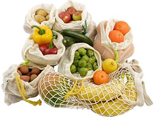 Gemüsebeutel Obstnetze, 6+1-Set, strapazierfähig & wiederverwendbar, Bio Baumwolle, GOTS&LFGB-zertifiziert, perfekt für plastikfreien Einkauf mit verschieden farbigen Kordeln & Gewichtsangabe