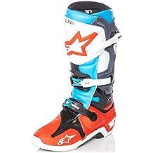 Stivali Mx Alpinestars Tech 10 Rosso-Aqua-Anthracite-Bianco (Eu 43 / Us 9 , Rosso)