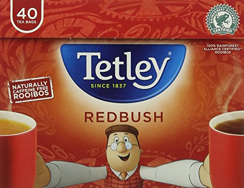 Tetley redbush tea bundle (rainforest alliance) (rooibos tea) (6 packs of 40 bags) (240 bags) (brews in 1-3 minutes)