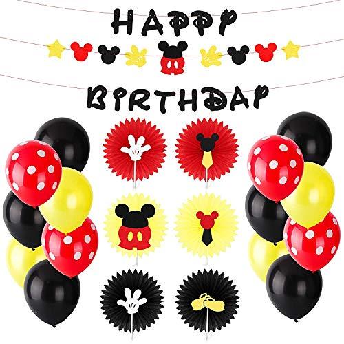 BEYUMI Mickey Theme Geburtstag Dekorations Kit (31 Pack) -3 Farbe Papierfächer, Happy Birthday Banner, Gelb / Schwarz / Wave Point Red Balloons Mickey Partyartikel für drinnen und draußen (Dekorationen Geburtstag Mickey)