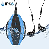 AGPTEK Swimming Mp3 Player 8gb with IPX8 Waterproof Headphones and Armband,Wearable for Swimming Surfing Other Water Sports,S05E Music Player,Blue