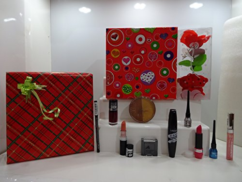 Valentines Gift Set For Her ~ Luxury 10pc MakeUp Beauty Gift Box Gift Set Mix Brands L'Oreal, Rimmel, Maybelline,Miss Sporty,Laval,NYC,Manhattan -Mix Brands In A Gift Box Gift Wrapped + Free Gift Teddy Flower