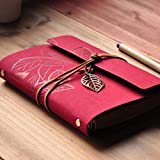 FRE beauté rétro Vintage PU cuir feuilles mobiles Journal Journal Notebook Notepad - rouge