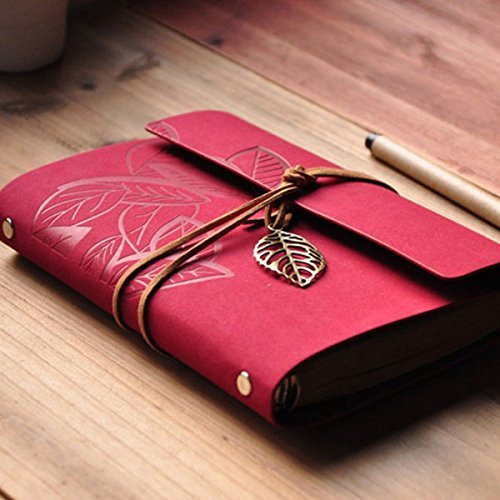 fre-beaute-retro-vintage-pu-cuir-feuilles-mobiles-journal-journal-notebook-notepad-rouge