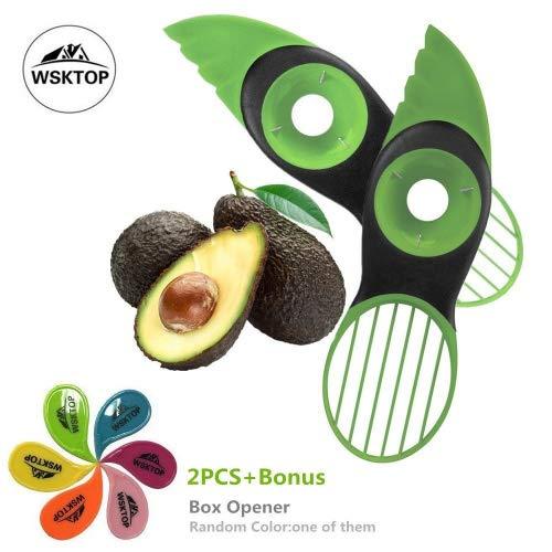 WSKTOP Coupe Avocat,Couteau Avocat 3 en 1 Tranche Avocat Coupe pour Avocats, Éplucheurs à Fruits, Zesteurs et Coupe-fruits,2Pcs (Avocado Slicer)