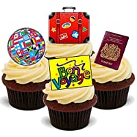 BON VOYAGE TRAVEL LEAVING MIX - Fun Novelty PREMIUM STAND UP Edible Wafer Paper Cake Toppers Decoration