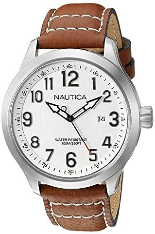 Nautica pour homme Nad10005g Ncc 01Date Affichage analogique Quartz Analogique Tan montre