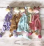 Schmusetuch mit Stofftier für Kinder, Kuscheltier Teddybär, Geburt Taufe Geschenk, bestickt mit Geburt Stats - Datum Namenplüschtier
