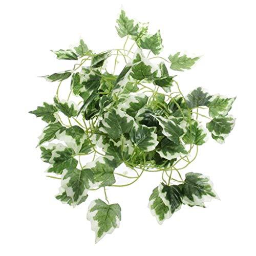 Hilai 2 m Künstlicher Efeu-Rebe-Trauben-Blatt Garland Pflanzenblätter für Reptilien Terrarium Dekoration 1pcs