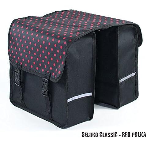 Beluko® Moda classica doppia Pannier Borsa da bicicletta, da donna, da uomo, Red Polka Dots
