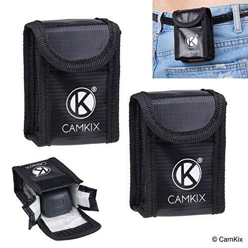 CamKix® Explosionsgeschützte LiPo-Akku-Tasche Kompatibel mit DJI Spark (2X) - In Jede Tasche passt 1 Batterie - Gürtelschlaufe - Feuerresistente Sicherheits- und Aufbewahrungstasche