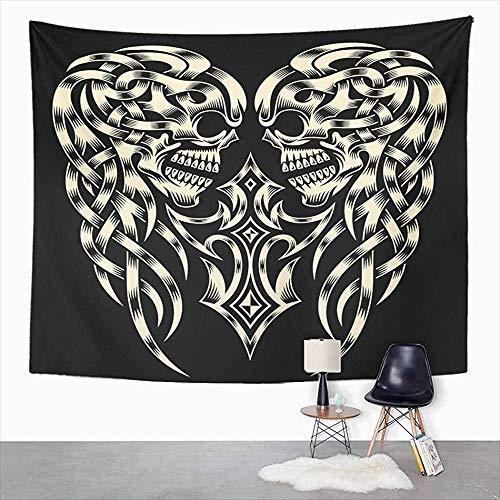 Wall Tapestry,Tattoo Verzierte Schädel Kreuz Kruzifix Keltisches Skelett Tribal Black Lustige Süße Wandbehang Für Home Living Room Decor 152x229cm
