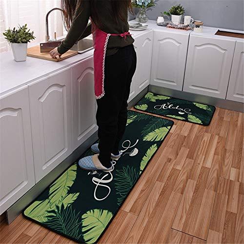 Modern Küchenläufer 2 STÜCKE Grüne Blätter 7 MM Dicke Küchenmatten Schlafzimmer Teppich Anti-Müdigkeit Fußmatten,50x80+50x160CM -
