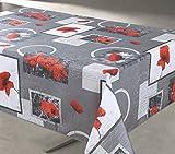 Nappe Anti-taches Coquelicots Fond Gris Rectangulaire 145x240cm