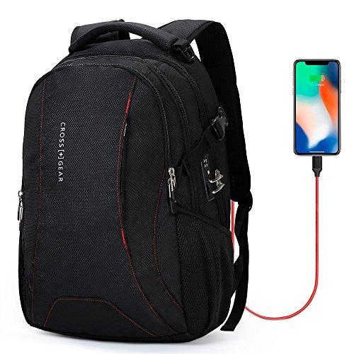 crossgear Laptop Rucksack mit USB Lade-Port und Kombination Türschloss Passt die Meisten 39,6cm Laptops und Tablets cr-9003bk-usb. Schwarz L-9006I L-9006I (Türschlösser Kombination)