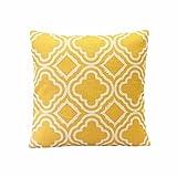 Internet canapé lit Home Café Decor taie d'oreiller Carré housse de coussin Toile de lin Invisible fermeture à glissière 45cm*45cm (Jaune)