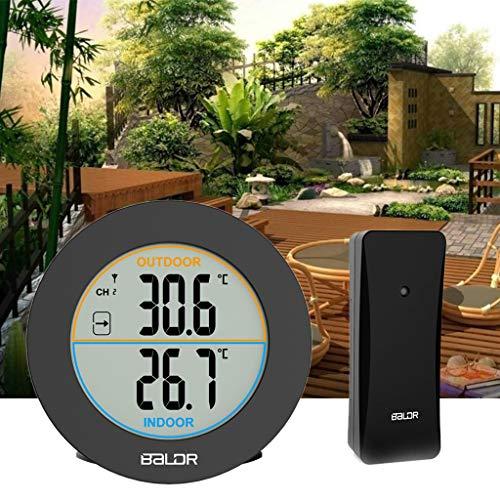 Cuigu LCD Thermometer, Wireless Thermometer Hygrometer C/F Schalter Digitaler Temperaturmonitor Für Indoor/Outdoor: Zuhause, Büro, Babyraum