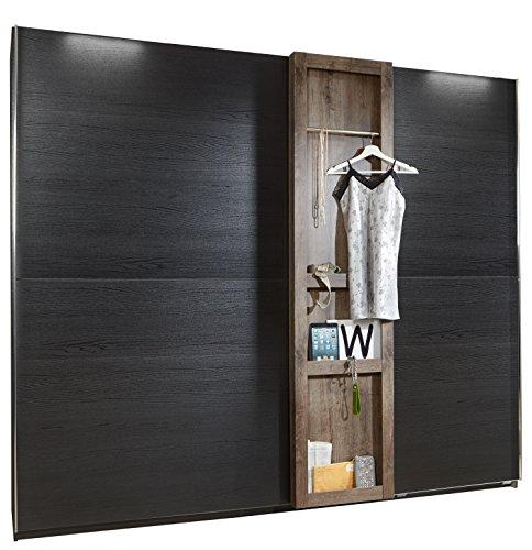 fresh to go F05374 Schwebetürenschrank, Holz, korpus und absetzungen schlammeiche-/ front schwarzeiche nachbildung, 250 x 65 x 220 cm