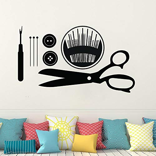 ziweipp Sewing Wall Art Decals Näherin Geschenk Wandaufkleber Buttons Pins Sewing Tools Wandbild Removable Sewing Shop Wall Decor 57 * 33cm