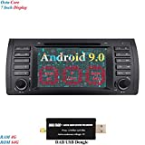 XISEDO 7 Zoll Bildschirm 8 Core Android 9.0 Autoradio RAM 4G ROM 64G In Dash Radio mit Navi Moniceiver DVD GPS Navigation für BMW 5-E39/BMW X5-E53 (mit DAB Dongle)