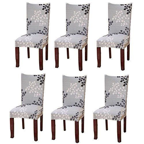 Fuloon 2er/4er/6er Set Stuhlüberzug Universell Stretch Stuhlhussen Abnehmbare Stuhlbezug Protector Cover (6er Set, A) (Stuhlhussen-set)
