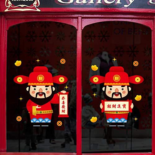 JJZZ Wandtattoos Neujahr Wandaufkleber Fortuna Wohnzimmer Wand Schaufenster Glastür Aufkleber Frühlingsfest Chinese New Year Dekoration 45 * 60 cm (Dekorationen Für Das Chinese New Year)
