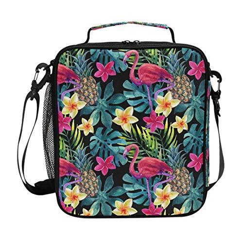 QMIN Lunchtasche Flamingo Animal Palm Leaves Lunchbox mit Reißverschluss, isoliert, wiederverwendbar, Thermo-Tragetasche mit Schultergurt für Mädchen Jungen Damen Herren -