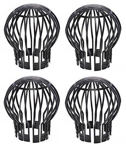 Fallrohrschutz Laubstopp schwarz 4 Stück Dachrinnenschutz bis Ø 14 cm