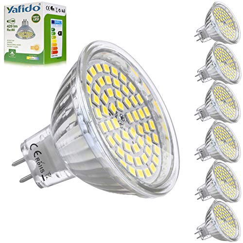 Yafido 6x MR16 GU5.3 LED 12V Bombilla 5W Blanco Neutro Natural Equivalente...