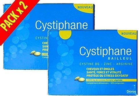Cystiphane Bailleul- Cystine B6 -Zinc - Arginine - Cheveux et ongles - Santé - Force et Vitalité Protège du stress oxydatif - Complément alimentaire pour cheveux et des ongles fragilisés - Lot de 2 boites de 120
