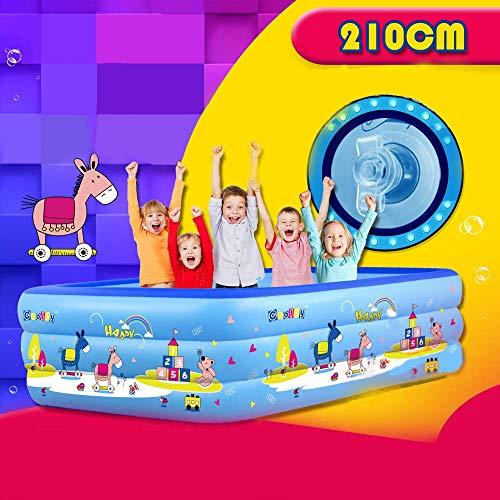 WEY&FLY Familie Pool, Kinderpool für Schwimmen Spielen Schlafen, Kinder Aufstellpool Planschbecken Aufblasbare Pool, Aufblasbare Badewanne, 3-Ring Embossing (210cm Neu Modell, Blau)