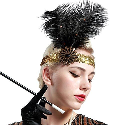 Kopfschmuck Flapper Kostüm - ArtiDeco 1920s Feder Stirnband 20er Jahre Stil Flapper Haarband Gatsby Stirnband Damen Kostüm Charleston Accessoires (Gold)