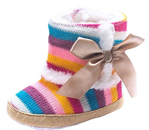 Eozy Bottes Neige Bébé Fille 12-18 Mois Bottine Chaussures Premiers Pas Chaud Hiver Multicolore