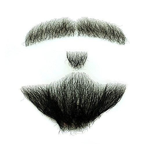 remeehi Man Make-up Bart 100% Echthaar Full hand auf Lace Herren Fake Bart Schnurrbart für Unterhaltung Party Film
