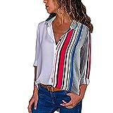 ITISME FRAUEN BLUSE Damen Casual Langarm Farbblock Streifen Button T Shirts Tops Bluse