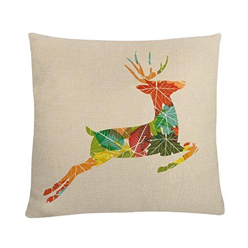 MAYUAN520 Coussins 45 * 45Cm Coussin Animaux Cerf Multicolore Taie Motif pour La Décoration De La Maison Coussins Housses pour Sièges De Voiture Canapé-Lit