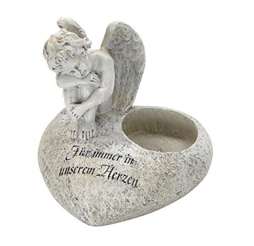 DARO DEKO Trauer-Deko Engel mit Kerzenhalter - Für Immer in unserem Herzen