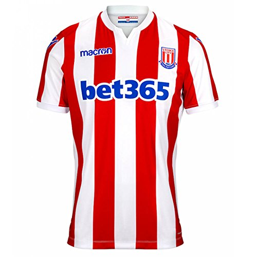 Man City Home Shirt (Macron 2018-2019 Stoke City Home Football Soccer T-Shirt Trikot)