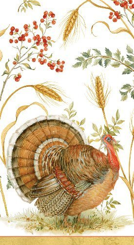 Caspari Thanksgiving Handtücher Türkei Dekorationen Fingertip Handtücher oder Abendessen Servietten Golden Harvest, Papier, Multi, 30 Count - Caspari Dinner Servietten