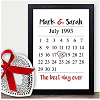 PERSONALISED Memorable Date Calendar Gifts for Him, Her, Husband, Wife, Boyfriend or Girlfriend - Suitable for Birthday, Christmas, Valentines or Anniversary - PERSONALISED with ANY TWO NAMES and DATE