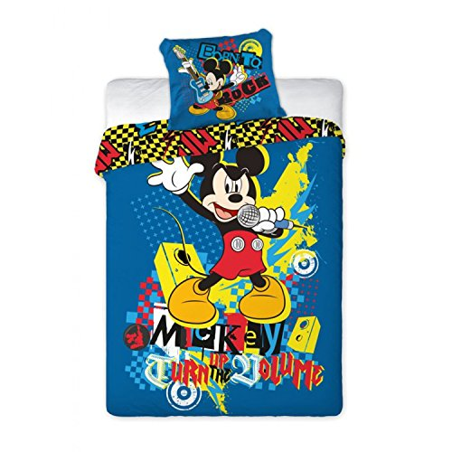 "Copripiumino Mickey Disney 160x200 cm Federa 70x80 cm Singolo Cotone ""Turn Up The Volume"""