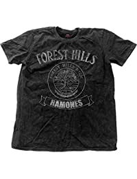 Ramones T Shirt Forest Hills Logo nouveau officiel Homme Noir distressed Snow