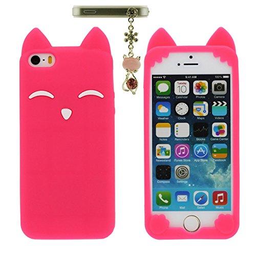 Apple iPhone 5 5S 5C / iPhone SE Hülle Case Schön Tier Fuchs Lächeln Gestalten Serie Weich Silikon Dünn Licht Handyhülle mit 1 Metall Anhänger - Schwarz rot