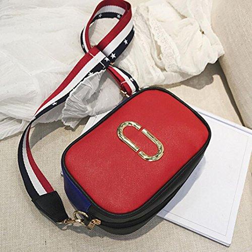 Longra le donne di colore crossbody graffetta nastro singolo borsa Rosso