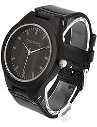 Dictac Reloj de Pulsera Madera Hombre de Cuero Genuino Color Negro